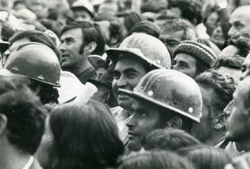 Workers at a protest, from The Battle of Chile, Dir Paricio Guzman, Venezuela /France/Cuba 1973-1979.