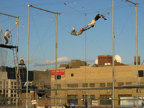 Trainee trapeze artists on Pier 40